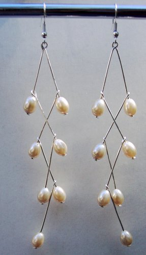 Long Pearl Dangle Earrings-Handmade