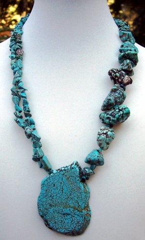 Turquoise Slab Necklace- Handmade