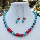 Bamboo Coral & Turquoise Necklace & Earring Set- Handmade