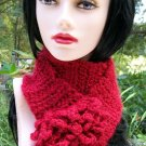 Crochet Scarf Red Ruffled Handmade