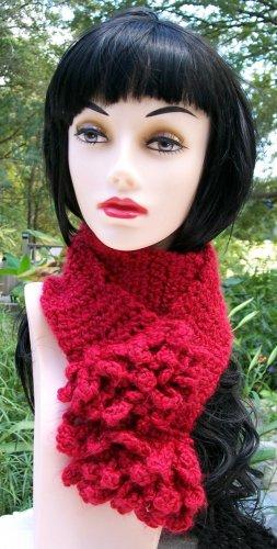 Crochet Scarf Red Ruffled Handmade