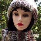 Handmade Crochet Hat & scarf Set Varigated Browns