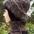 Brown Wool Crochet Hat & Scarf Set-Handmade