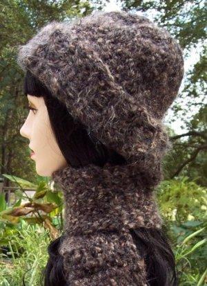 Brown Wool Crochet Hat & Scarf Set-Handmade