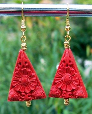 Red Cinnabar Traingle Earrings Handmade