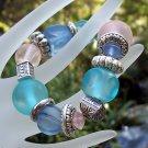 Acrylic PInk & Blue Stretch Bracelet Handmade