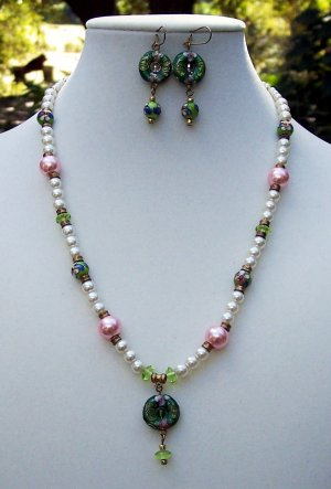 Classic Cloisonne & Pearls Necklace & Earring Set Handmade