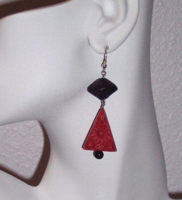 Red Cinnabar Drop Earrings Handmade