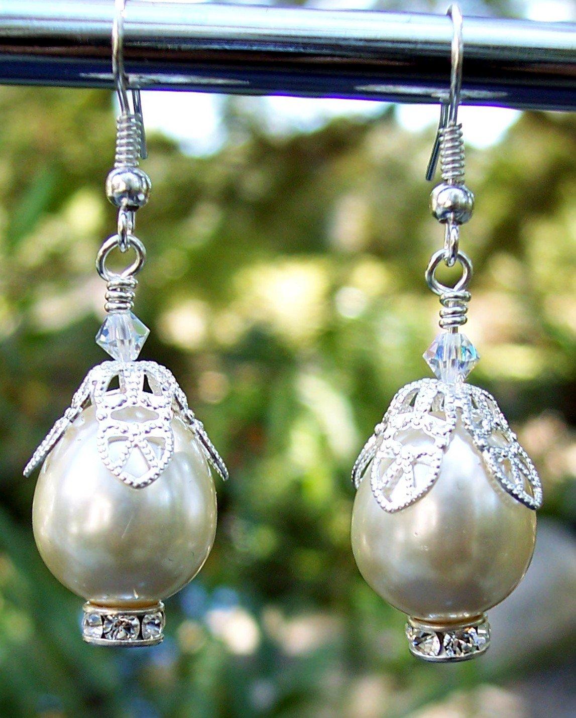 Swarovski Crystal & Pearl Earrings Handmade
