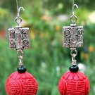 Red Cinnabar Earrings Handmade