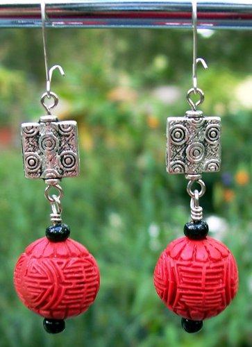 Red Cinnabar Earrings Handmade