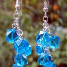 Blue Crystal Drop Earrings Handmade
