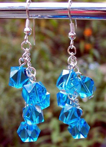 Blue Crystal Drop Earrings Handmade