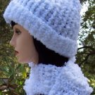 White Boucle Hat & Scarf Set Handmade Crochet