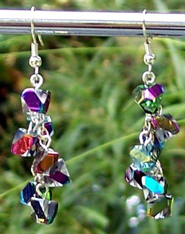 Fire Polished Crystal Dangle Earrings