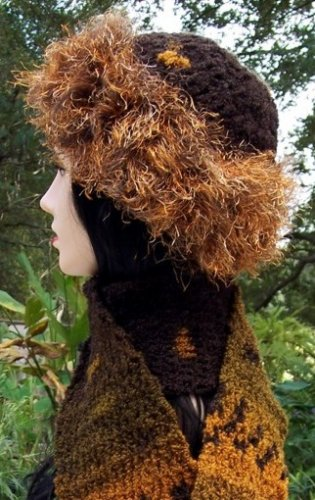 Handmade Crochet Hat & Scarf Set Orange Brown