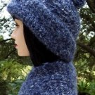 Blue Wool Crochet Hat & Scarf Set-Handmade