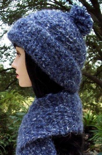 Blue Wool Crochet Hat & Scarf Set-Handmade