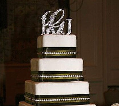 3 Piece Monogram Crystal Cake Toppers