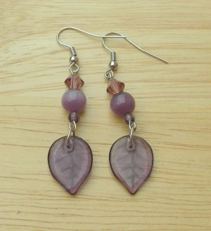 Purple Leaf Drop Earrings