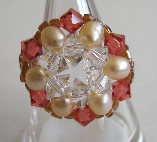 Cute Swarovski Crystal Beads Flower Ring