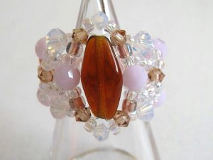 Gorgeous Baby Pink and White Opal Swarovski Ring
