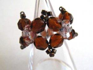 Brown Czech Beads Ring