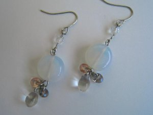 Hypo-allergenic Surgical Steel Glass Beads Earrings White