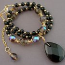 Necklace Black Briolette Teardrop Smoky Crystals br423291