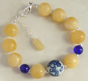 Bracelet Cobalt Blue Porcelian Yellow Aragonite Chunky br42380