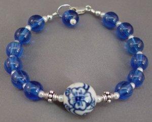 Bracelet Blue Chinese Porcelain Cobalt Sterling Silver brbb101