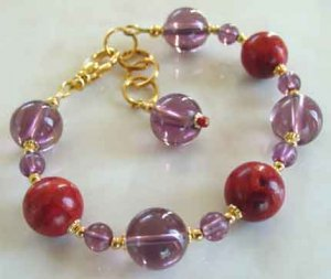 Bracelet Red Hat Society Chunky Big Fat Red Coral Purple Glass br42368
