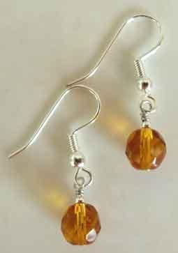 Amber Crystal Silver Earrings brbb118
