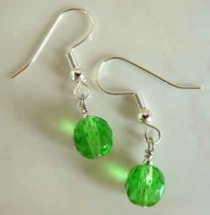 Shamrock Green Crystal Silver Earrings brbb119