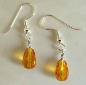 Amber Crystal Teardrop Silver Earrings brbb131