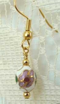 Pink & White Roses Cloisonne Gold Earrings brbb134