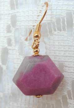 Pink Rhodonite Faceted Crown Gold Earrings brbb142