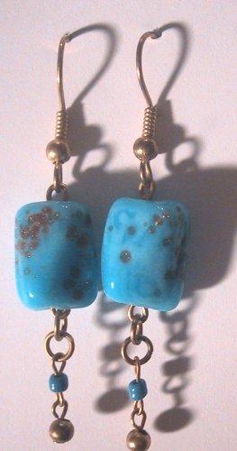 Blue golden-speckled Clip-On Earrings