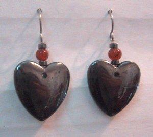 Hematite HEART Clip-On Earrings