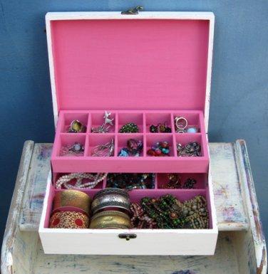Shabby Chic Wooden Jewelry Box Cream & pink