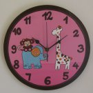 Brown And Pink Wall Clock With Whimsical Animals Paintings