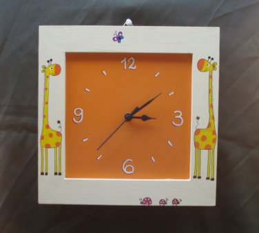 Wooden Wall Clock With Giraffes Painting