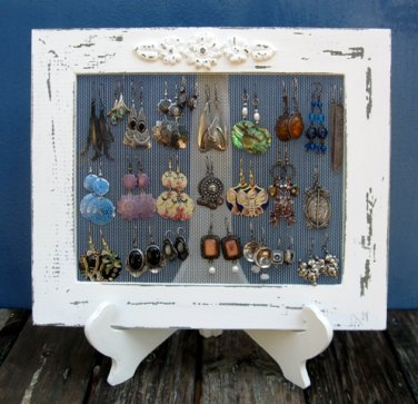 Cream Shabby Chic Earrings Holder On A Stand