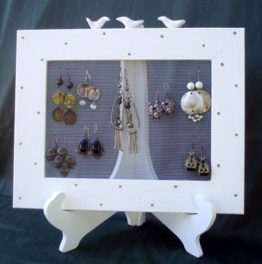 Wooden Earrings Holder On a Stand - Its All In The Frame