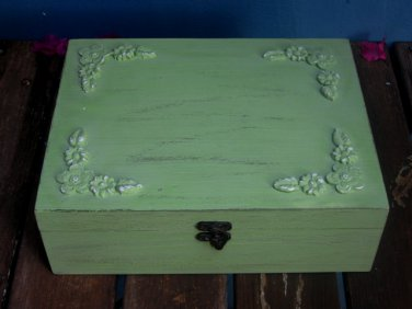 "Light Green ""Shabby Chic"" Wooden Jewelry Box organizer"