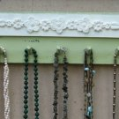 NECKLACE HOLDER Jewelry Organizer And Display Green & Cream Shabby Chic