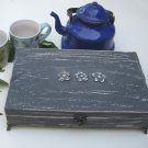 Tea box grey Shabby Chic Home Decor / Tea bag box