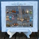 Earring Holder On A Stand / Light Blue Shabby Chic / 25 - 40 Earrings