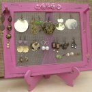 Earring Holder On A Stand / Royal Fuchsia Shabby Chic / 25 - 40 Earrings / 6-10 Necklaces