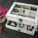 Cream & Brown Shabby Chic Wooden Jewelry Box